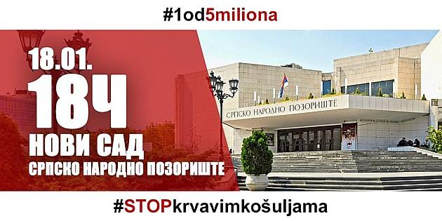 """Sutra prvi protest """"Jedan od pet miliona"""" u Novom Sadu"""