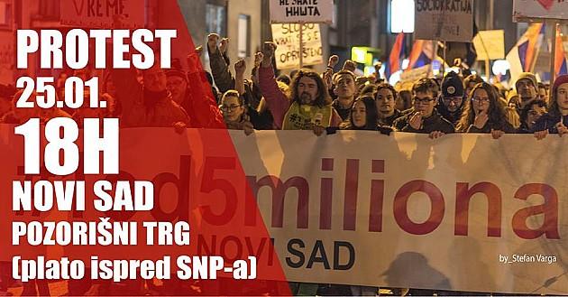 """Drugi protest """"1 od 5 miliona"""" sutra u Novom Sadu"""