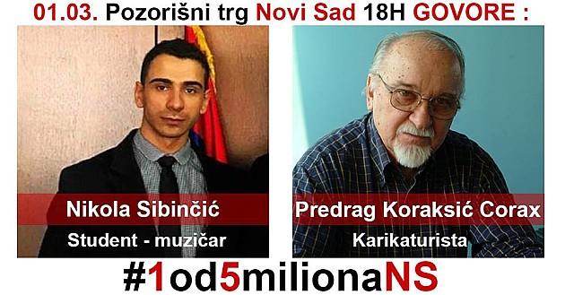 """U petak sedmi protest """"Jedan od pet miliona"""" u Novom Sadu"""