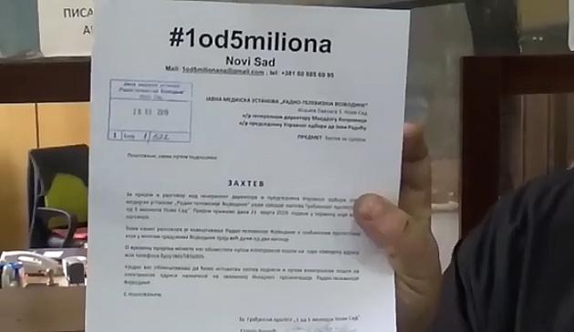 """""""1 od 5 miliona"""" zahteva hitan sastanak sa rukovodstvom RTV"""