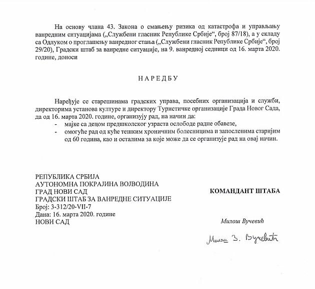 Mere tokom vanrednog stanja u Novom Sadu
