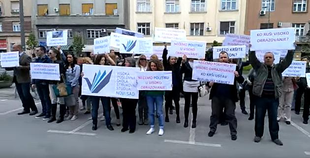 VIDEO: Protest studenata i dela zaposlenih u VPŠ zbog smene direktorke Tomić