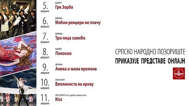 Repertoar onlajn predstava Srpskog narodnog pozorišta