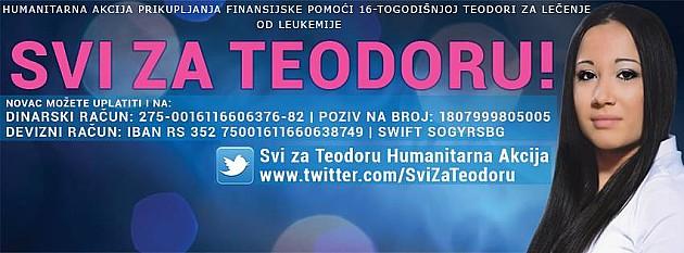 """Za Teodorino lečenje """"Humanim ponedeljkom"""" prikupljeno 260.000 dinara"""