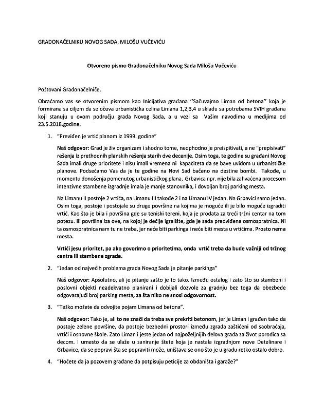 Otvoreno pismo građana Limana Milošu Vučeviću