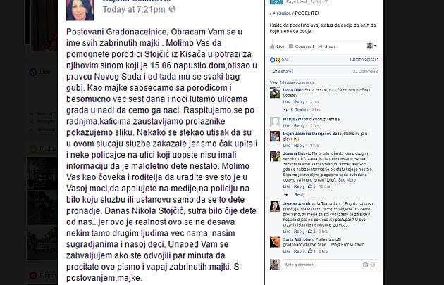 Nikola (15) iz Kisača još nije pronađen