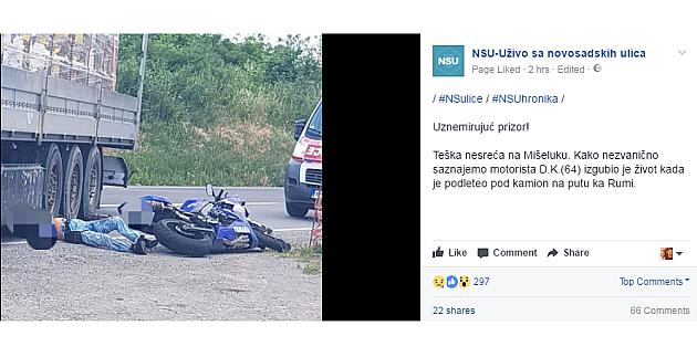 Stravična nesreća: Motociklista podleteo pod kamionsku prikolicu