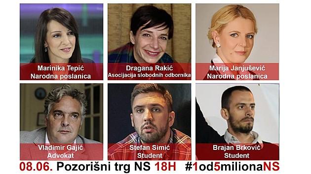 """Protest """"Jedan od pet miliona"""" u subotu u Novom Sadu i drugim gradovima"""