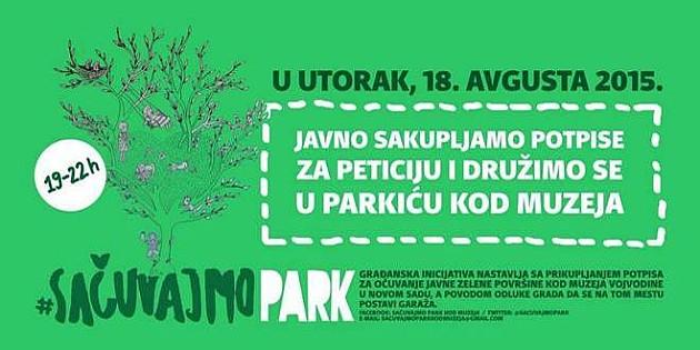 Prikupljanje potpisa za park kod Muzeja Vojvodine uz muziku i druženje