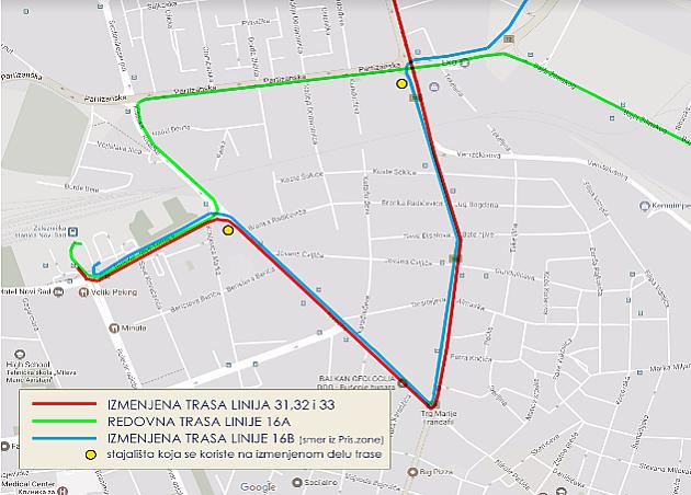 Autobusi 16, 31, 32 i 33 menjaju trasu, produžava se izmena trasa drugih autobusa