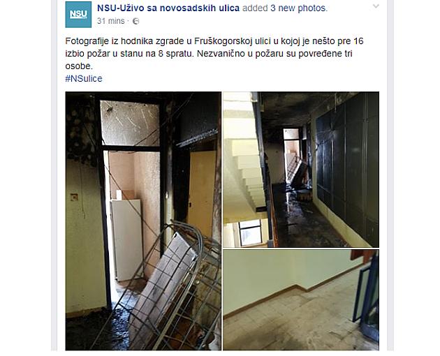 Požari u nekoliko zgrada u Novom Sadu, među povređenima ima dece