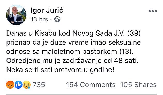 Stanovnik Kisača silovao pastorku
