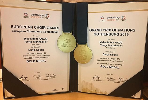"""Hor """"Sonja Marinković"""" osvojio dve zlatne medalje na Evropskim horskim igrama"""
