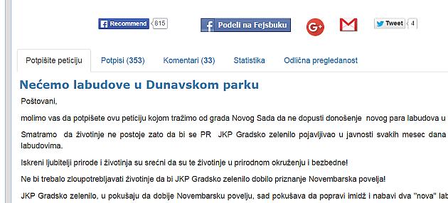 Ne žele nove labudove u Dunavskom parku