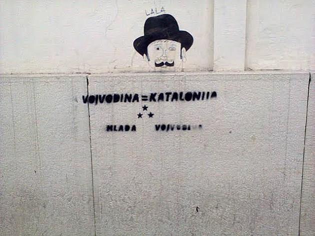 """Grafiti """"Vojvodina = Katalonija"""" i širom Banata"""