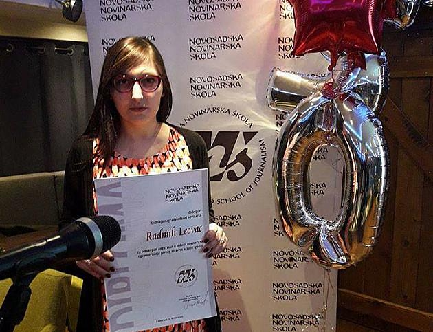 Radmili Leovac nagrada za najbolju mladu novinarku u Novom Sadu