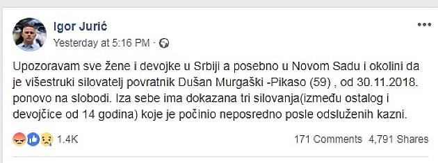 Igor Jurić upozorava: Višestruki silovatelj pušten na slobodu